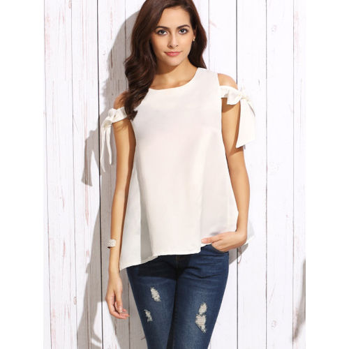 White Arm Tie A Line Top