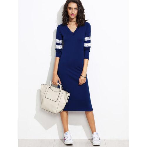 Blue Striped Jersey Dress
