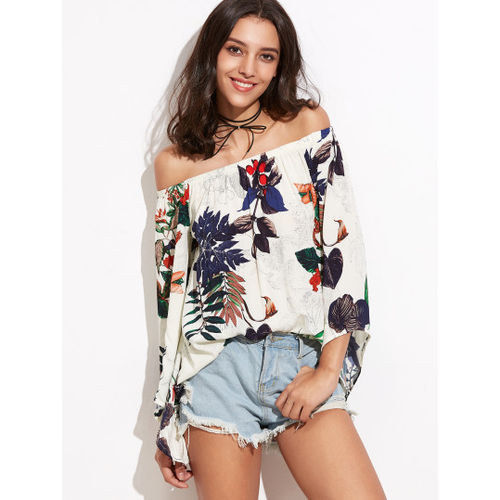 Tropical Print Off The Shoulder Bell Sleeve Top