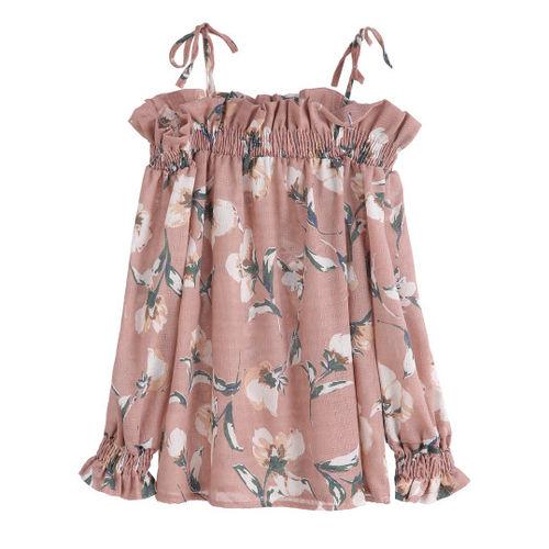 Floral Print Ruffle Shirred Top