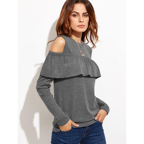 Cold Shoulder Ruffle Trim T-shirt
