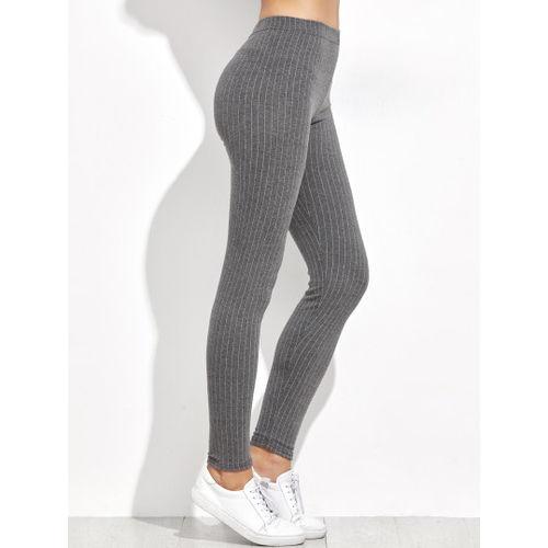 Grey Striped Leggings