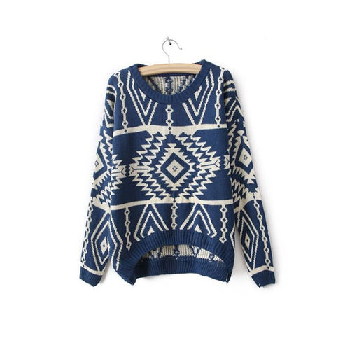Blue Aztec Sweater