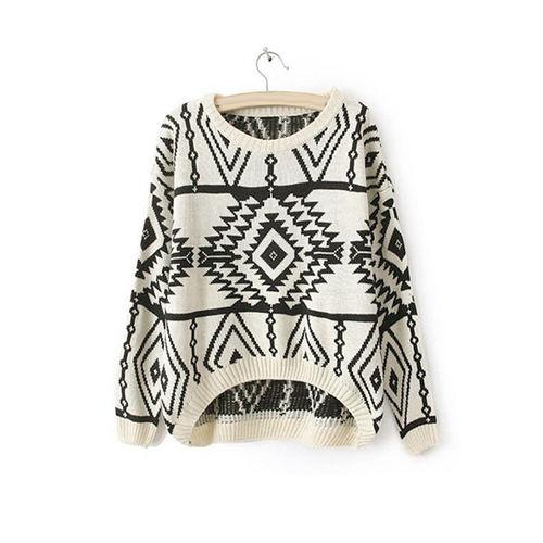 White Aztec Sweater