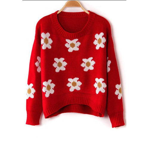 Red Floral Sweater