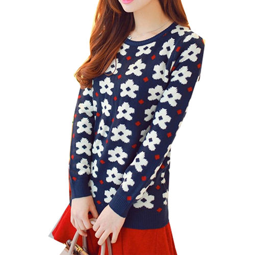Navy Floral Sweater