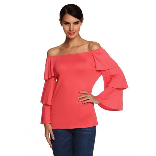 Rose Red Flounce Sleeve Top