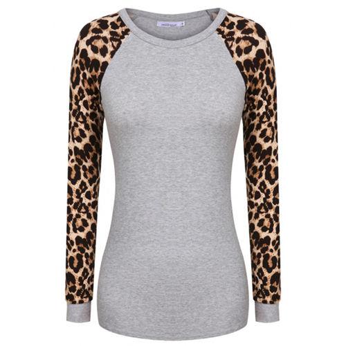 Grey Leopard Sleeve Top