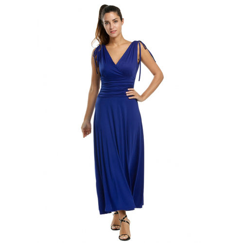 Blue Gathered Maxi