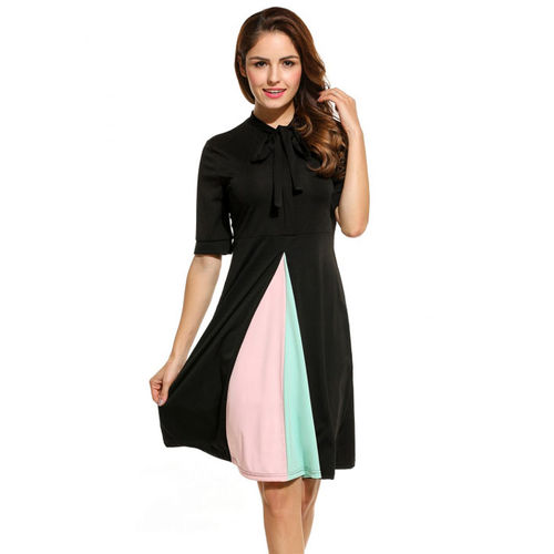 Black Patchwork Pleated Dress
