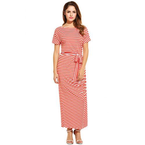Orange Striped Short Sleeve Maxi