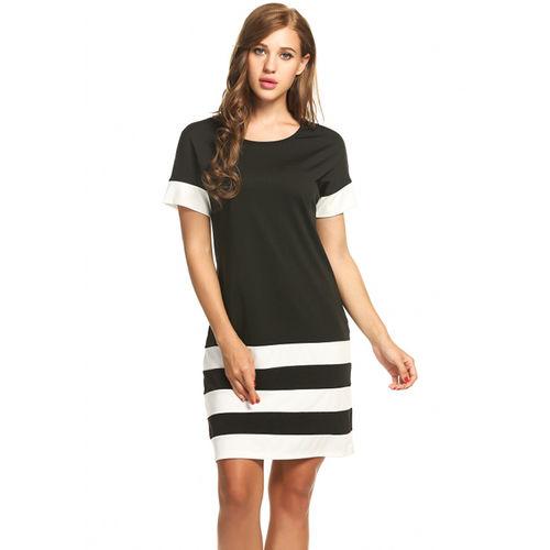 Black Sporty Stripes Dress