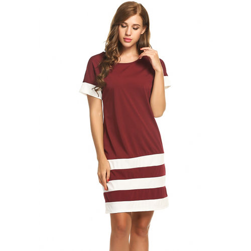 Maroon Sporty Stripes Dress