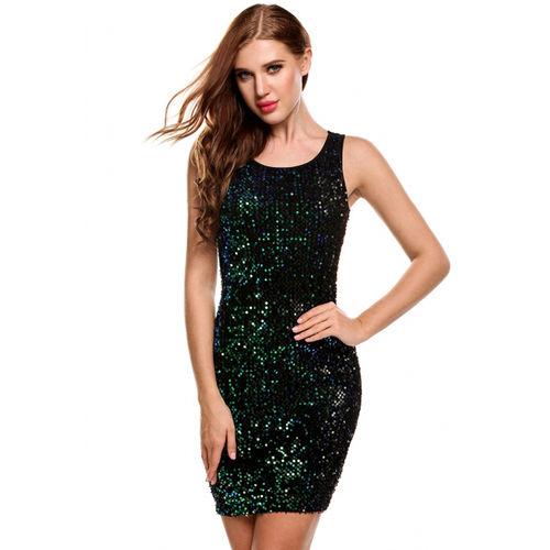 Green Sequin Sleeveless Bodycon Dress
