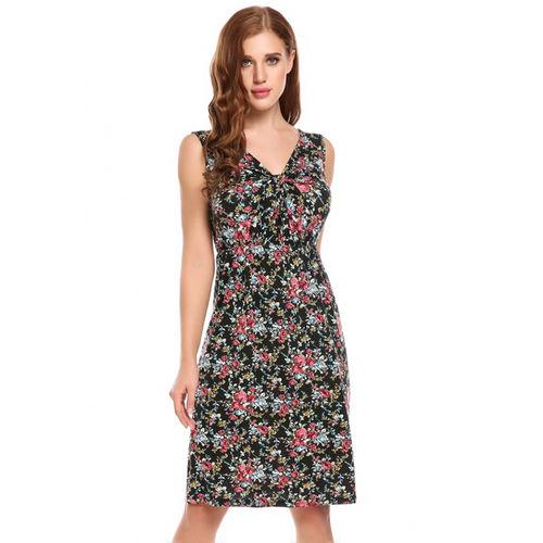 Black Floral Twist Dress
