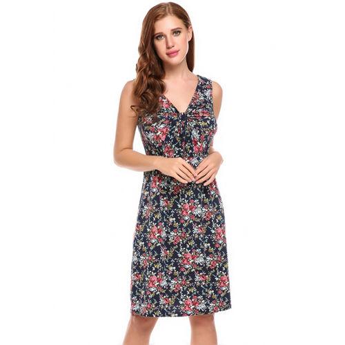 Blue Floral Twist Dress