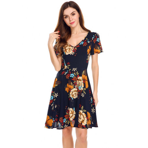 Navy Vintage Floral Fit and Flare Dress