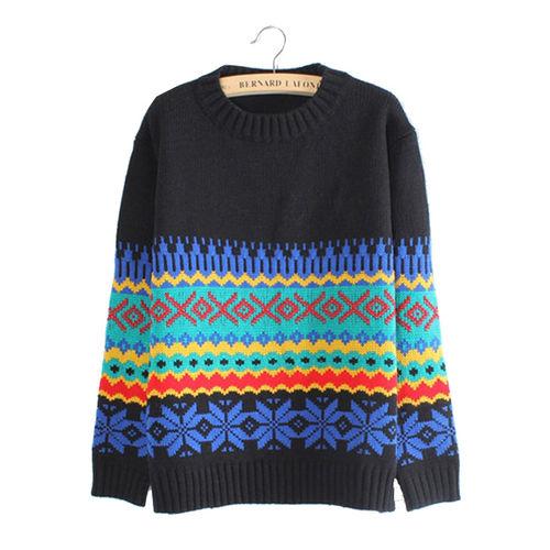 Black Geometric Print Sweater