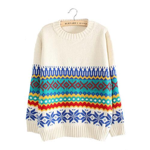 White Geometric Design Sweater