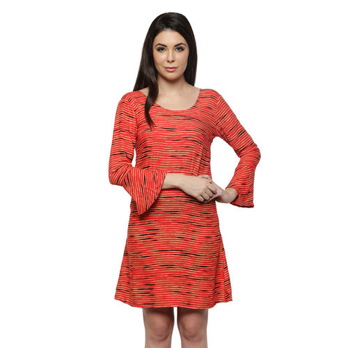 Red Bell Sleeves Dress