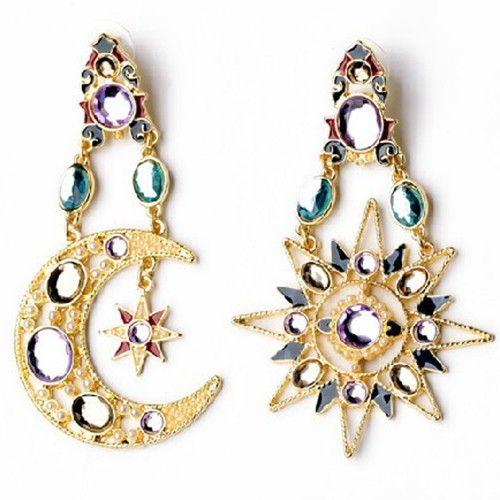 Moon Star Chandelier Earrings