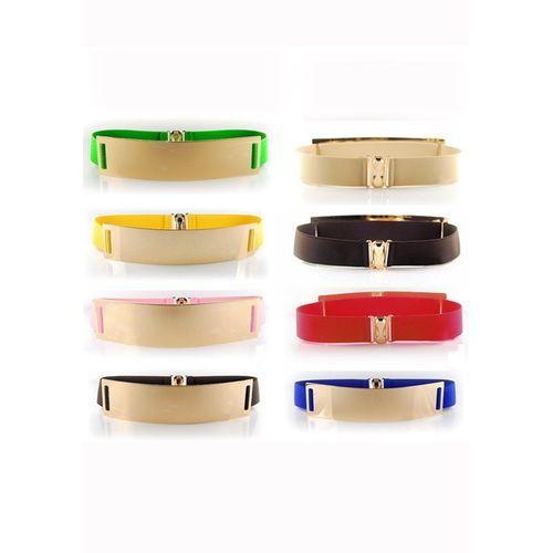 Wide metal waist belt