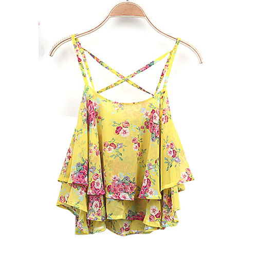 Yellow Floral Chiffon Top