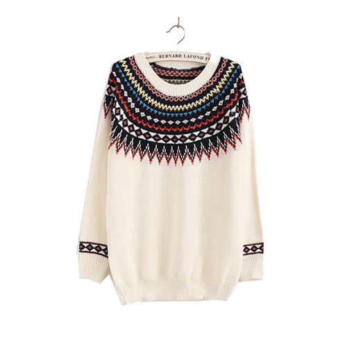 White Neck Print Sweater