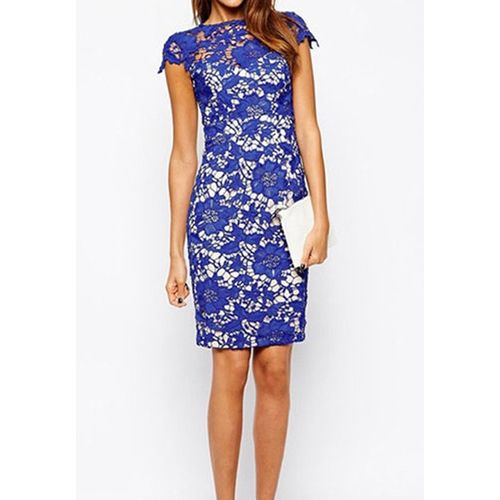 Blue Lace Cover Bodycon Dress