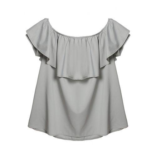 Grey Off The Shoulder Top