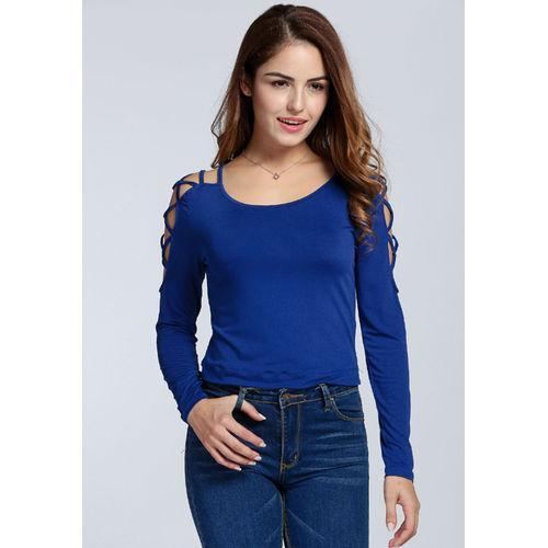 Blue Pattern Sleeve Top