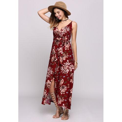 Red Floral Boho Maxi Dress