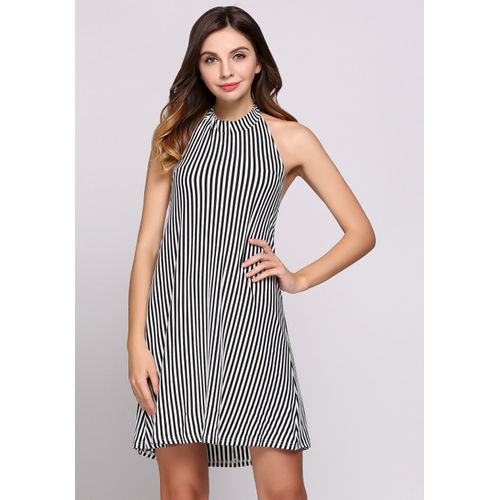 Striped Halter Monochrome Dress