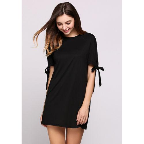 Black Bow Sleeves T-Shirt Dress