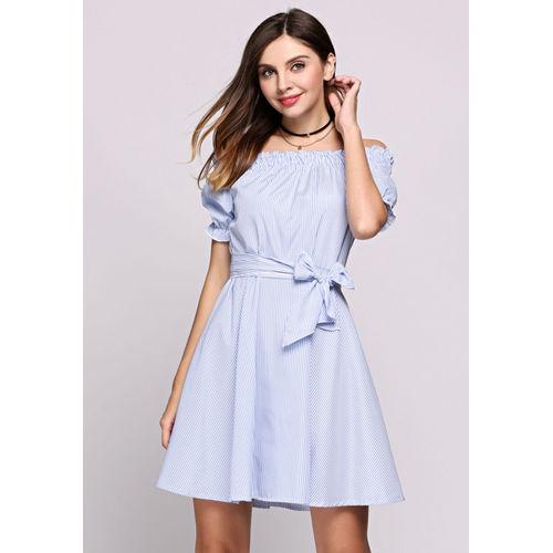 Striped Off-Shoulder Belted Dress