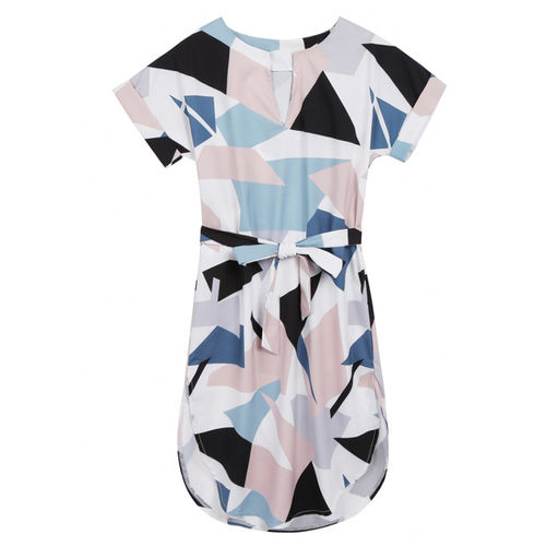 Geometric Print Belted Dress