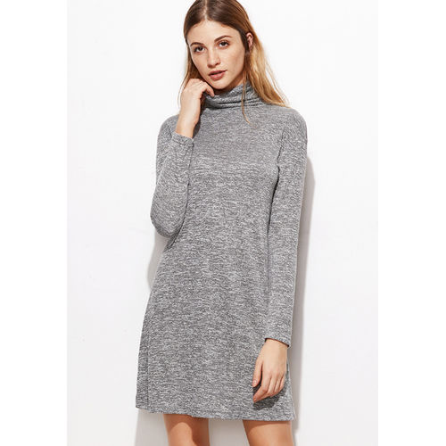 Grey Cowl Neck Shift  dress