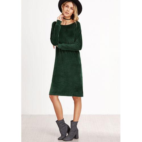 Green Velvet Side slit dress