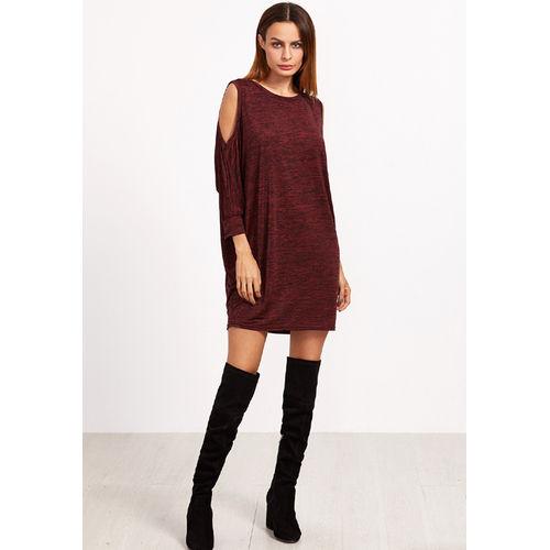 Burgundy Marled Cold Shoulder Dress