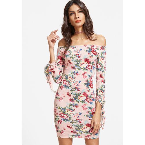 Pastel Off-Shoulder Floral Dress
