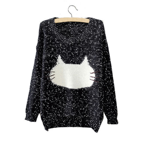 Black Kitty Face Pullover