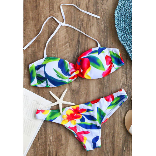 Floral Bright Halter Bikini
