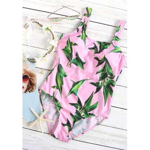 Pink Leaf One-Piece SwimWear
