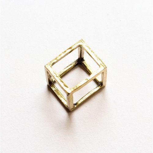 Antique gold square ring