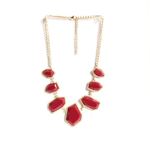 Asymmetrical red necklace