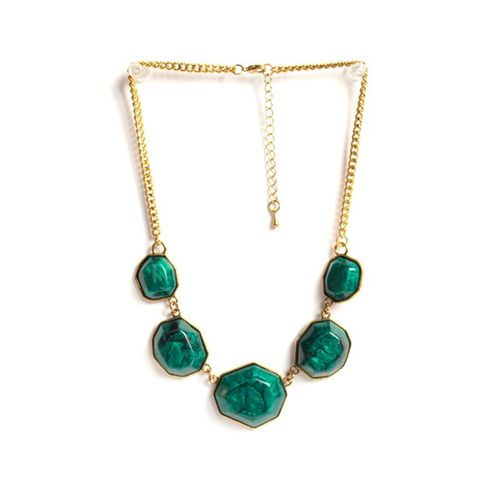 Green chunks necklace
