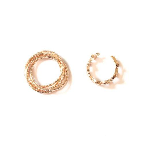 Gold dainty midi rings (set of 2)