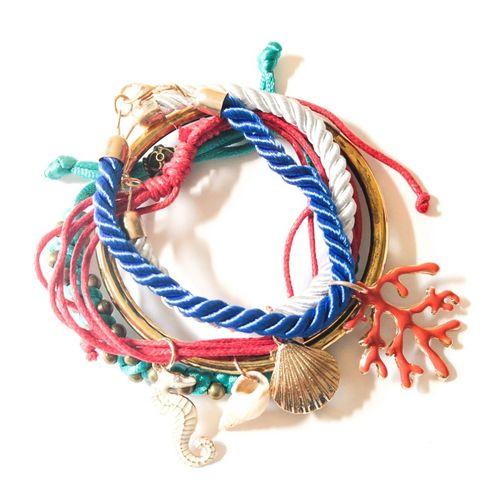 Sea life charms bracelet stack (set of 5)