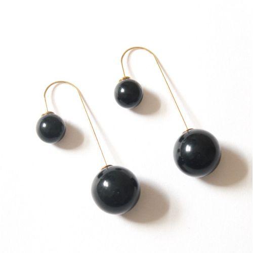 Black pearl double side earring