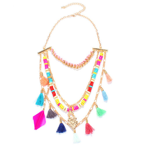Feather n Tassel necklace